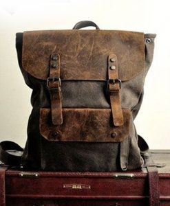 16-inch-Grey-Genuine-Cow-leather-bag-canvas-BACKPACK-Leather-Briefcase-leather
