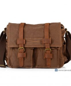 Brown Canvas Messenger Bag Canvas Shoulder Bag (1)
