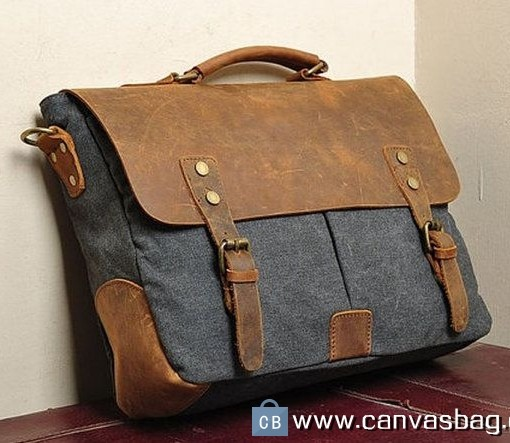 Leather Canvas Bag Messenger Bag Laptop Bag - Canvas Bag Leather ...
