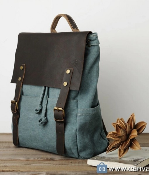 Leather Canvas Backpack Canvas Bag DSLR Camera Bag - Canvas Bag ...