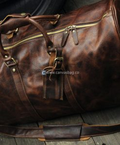 mens leather weekend bag