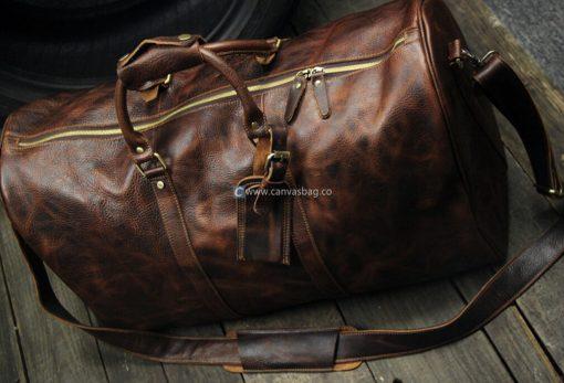 mens leather weekend bag