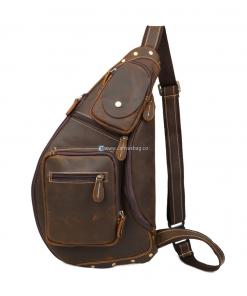 Brown Mens Canvas Sling Backpack Shoulder Bag Leather Messenger Suede