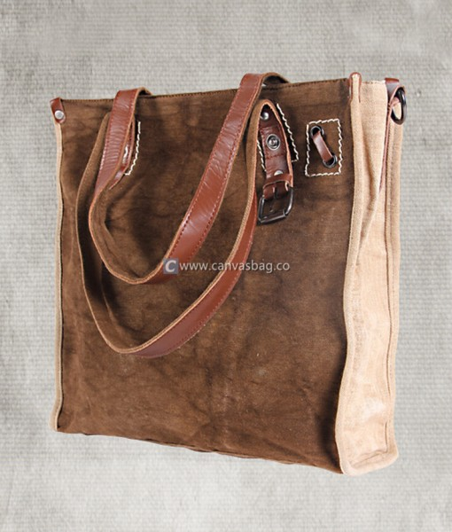 Canvas Tote Bag Shoulder Bag with Leather Handle - Canvas Bag ...