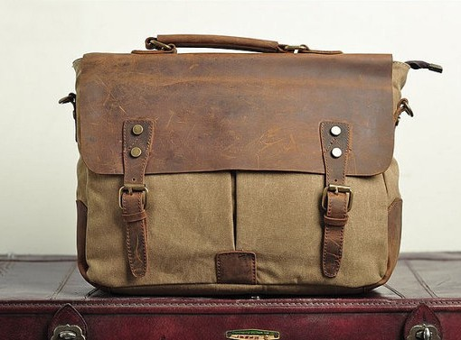 Leather Canvas Bag Laptop Satchel Messenger Bag - Canvas Bag ...