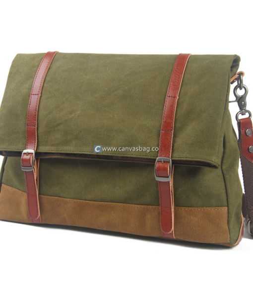 Green Canvas Messenger Bag (5)