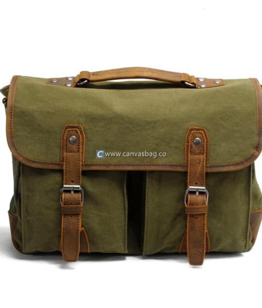 Laptop Messenger Bags Green Canvas Messenger Bag (1)