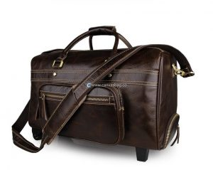 leather duffle bag with wheels